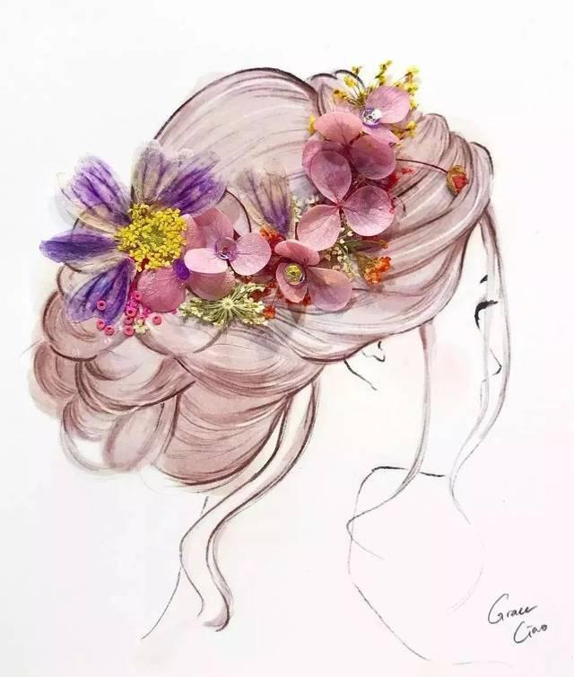 手绘捧鲜花的女人