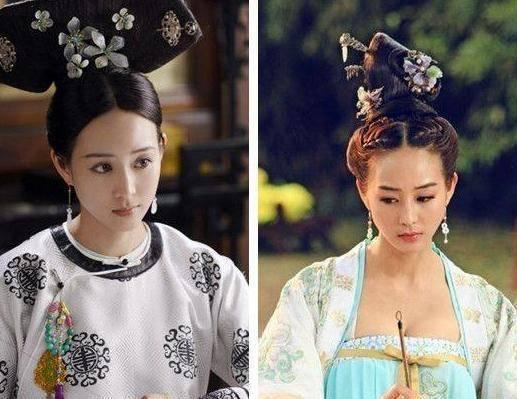 唐朝妃子头饰手绘图