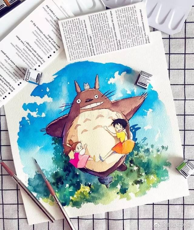 『水彩教程』今天教你画宫崎骏电影中的龙猫