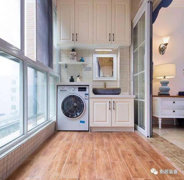 如果要将洗衣机放在阳台,甚至再搭配一套柜子和洗衣池等,这些加一起图片