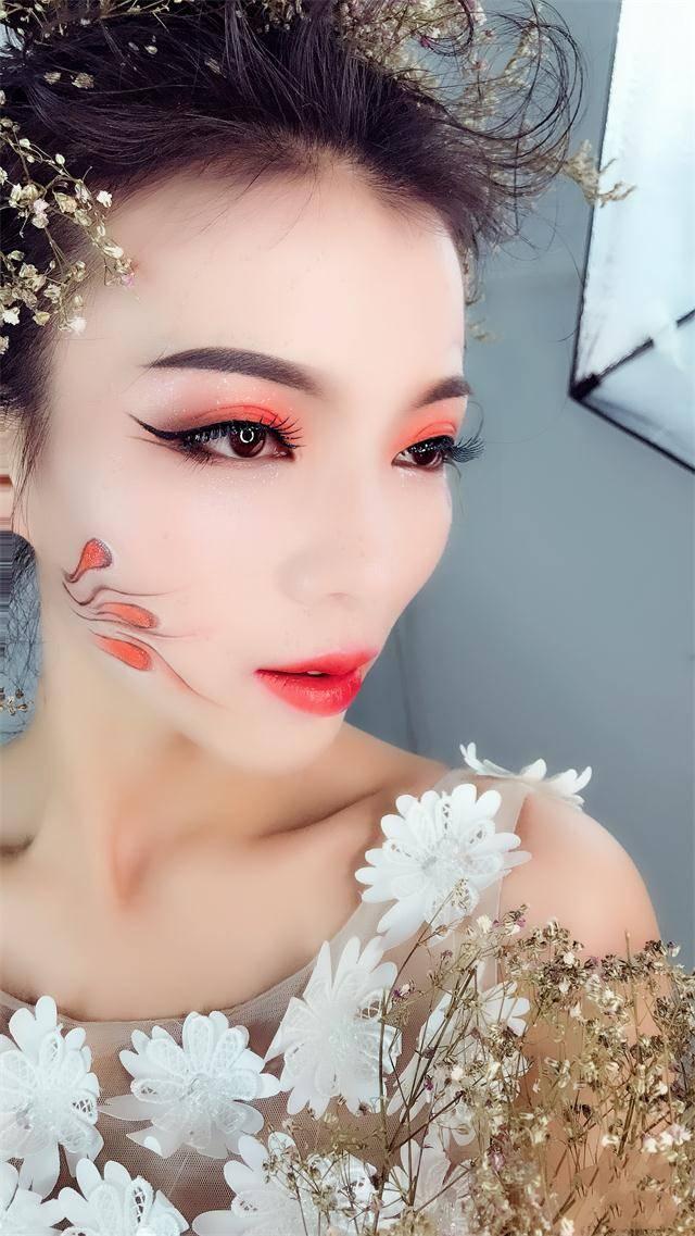 化妆作品,个性创意鲜花时尚化妆造型图片