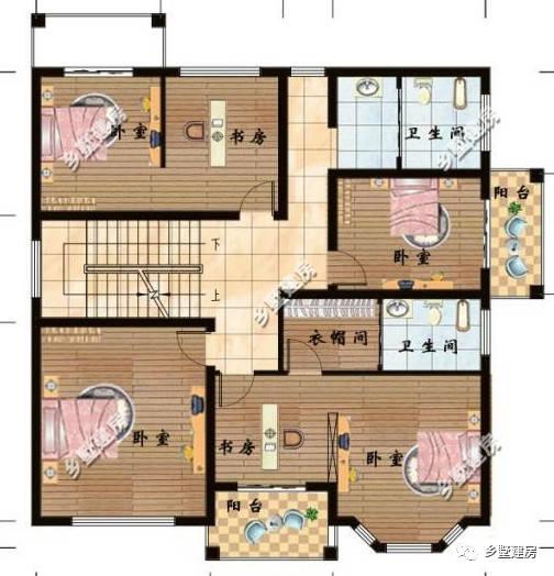 一层平面设计图:进门有个门厅,往左就是客厅,两间卧室,其中有间主卧