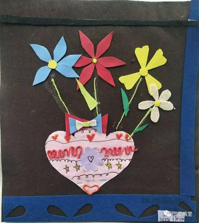 【三度画室】儿童班综合材料类装饰画系列课程回顾——美丽的花图片