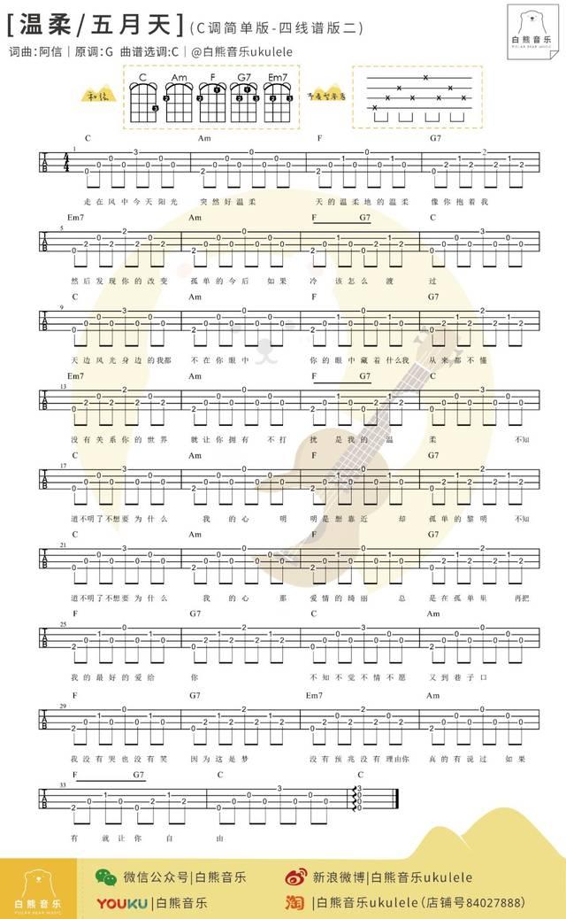 尤克里里新手入门曲谱_简单一曲 ╳ 新手必学:〈温柔〉五月天〔尤克里里弹唱