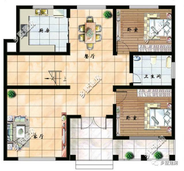 二层平面设计图:一楼走廊和入户平台在二层坐了小屋顶盖了琉璃瓦,还