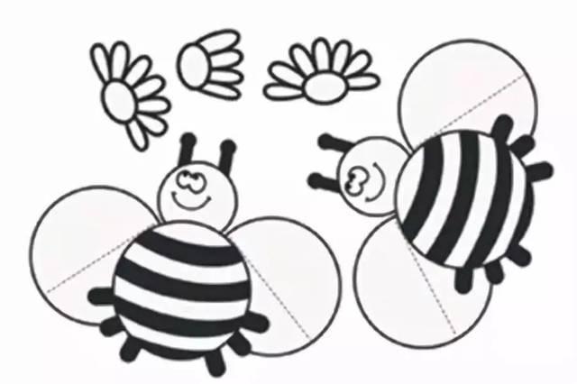 制作步骤:在纸上画出小蜜蜂的形状.图片
