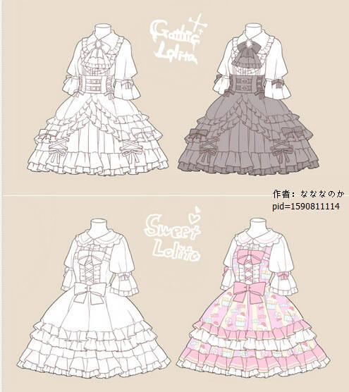 欣赏绘师なななのか的一组lolita裙子样式参考,每种都美美哒图片