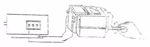 将摇表接线柱的(e)接机壳.