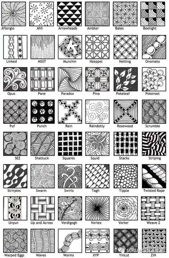 (素材) 线描二方连续,点线面纹样!你要的素材在这儿图片