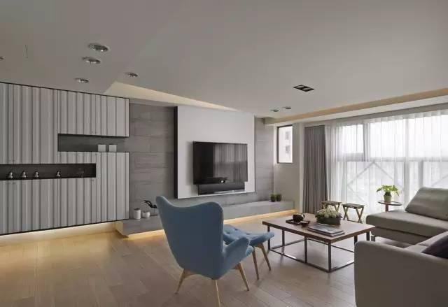 1 木质背景墙设计 以木饰面作为电视背景墙, 能为冰冷的空间注入一丝