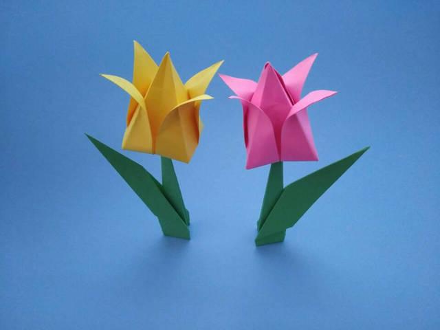 漂亮的郁金香花朵折纸,简单几步就做好,女孩子们都抢着要学