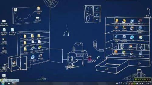 柜子电脑桌面手绘