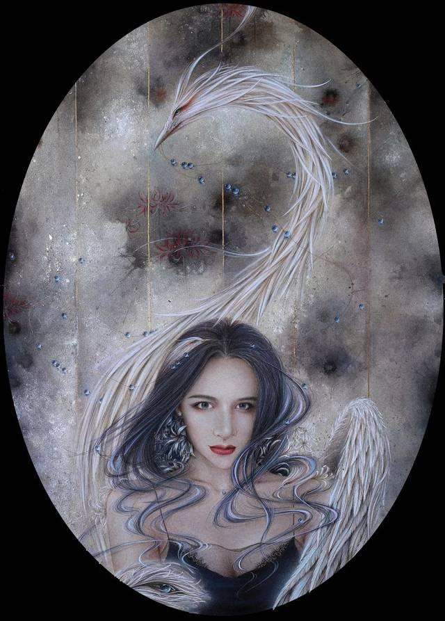 彩铅古风唯美手绘女子