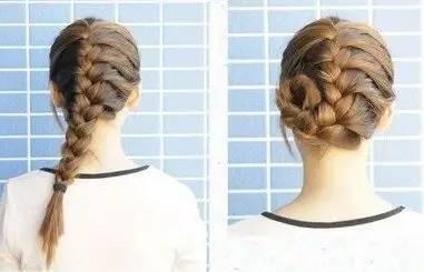 三蜈蚣公主头step1:先将头发分成三个区,然后编三股发辫,再把三股
