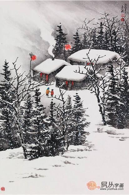 吴大恺最新力作雪景国画《雪中温情》图片