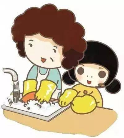 孩子洗碗怎么简笔画