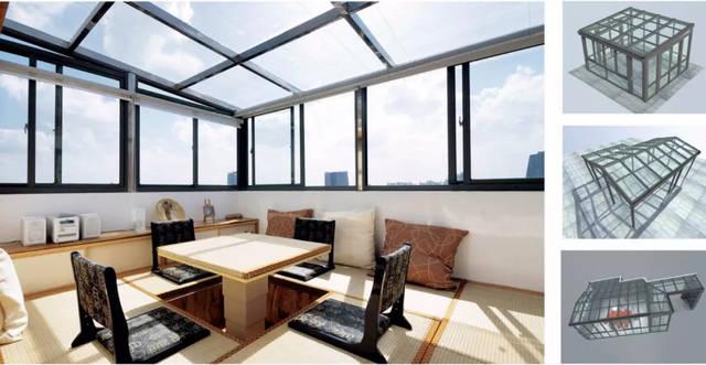 有的阳光房是从露台或阳台变化而来,也有的是在建筑室外加盖,通常使用图片