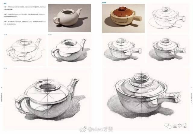 画结构 宁方勿圆,结构素描静物:水果刀,盘子,花瓶和各种罐子,酒瓶等.