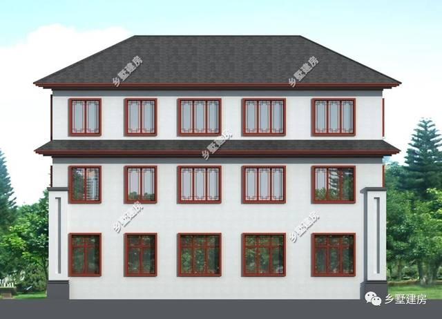 别墅背立面图,背面高大宽阔,丰富的墙面线条的,排列有序,也很好看.