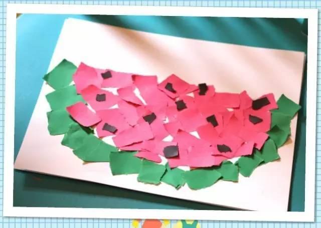 接下来,用画笔把瓜皮和西瓜子画出来就完成了.