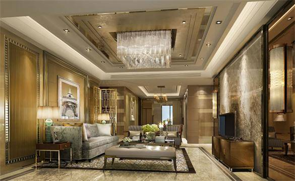 电视墙采用实木线条构造边框填充帝王金大理石装饰,沙发背景墙对应的