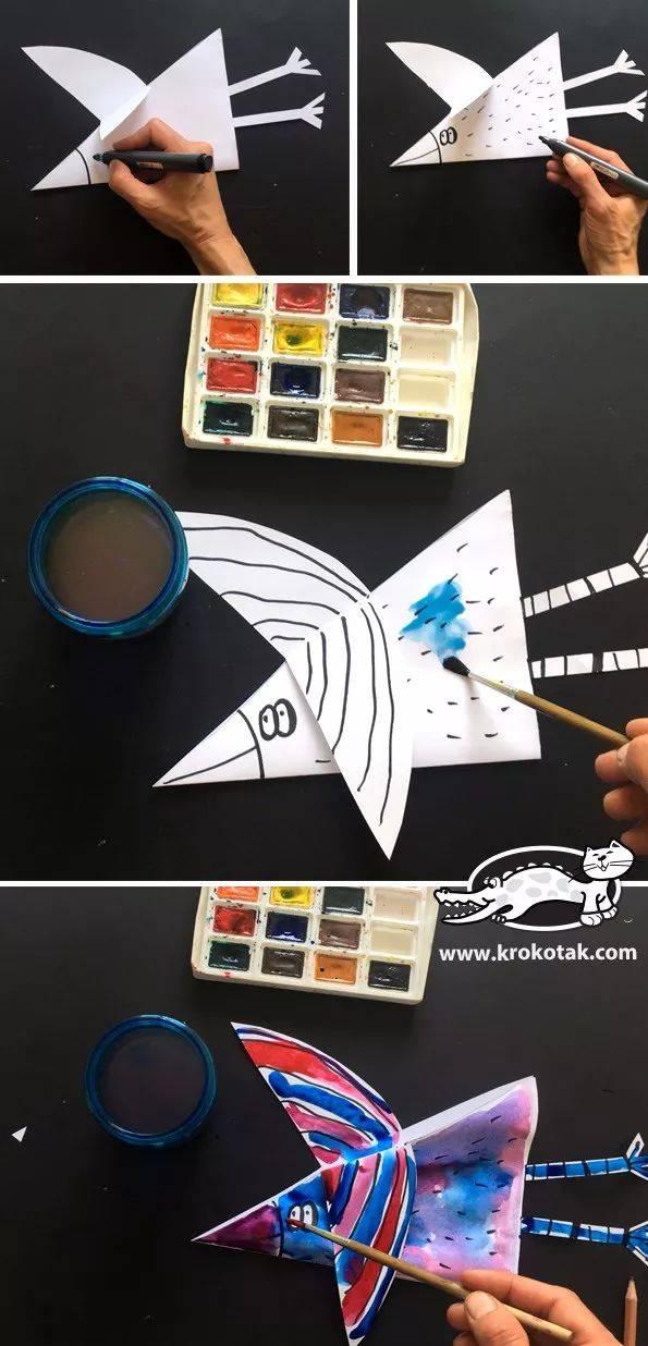 卡纸鱼儿 准备材料:卡纸,剪刀,固体胶,笔等辅助材料 制作步骤图解