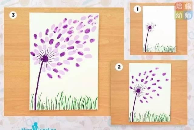 材料:颜料,白纸 按照下图所示,孩子一点点沾染即可,简单又好看图片