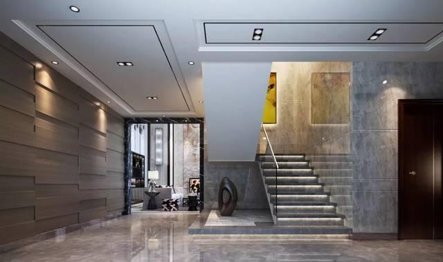 楼梯空间选用意大利帕斯高灰大理石装饰,层层而上的阶梯,嵌入灯带设计