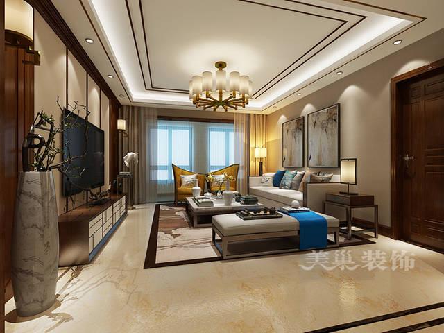 郑州美巢碧源月湖装修四室大平层现代中式风格案例效果图