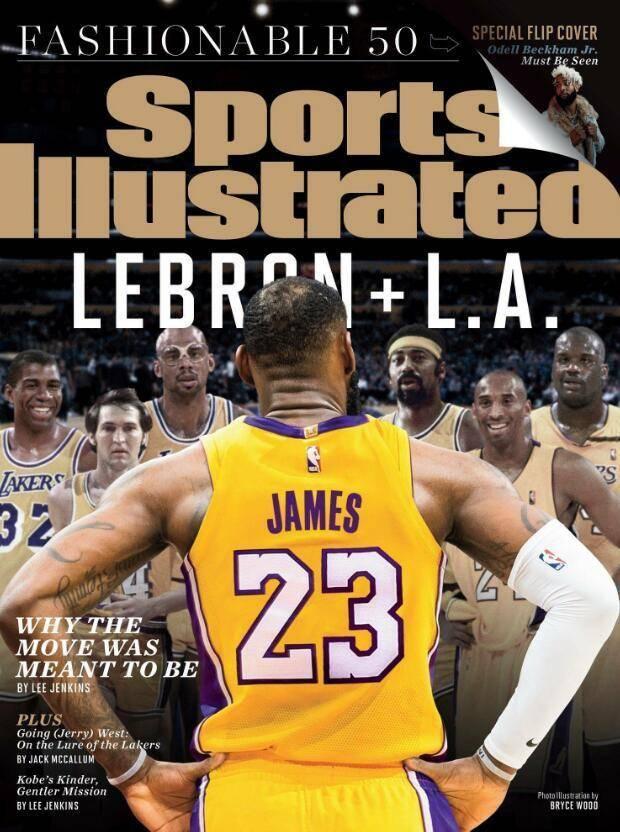 詹姆斯对望6名宿,体育画报封面意味深长,23号能否成湖人传奇?图片