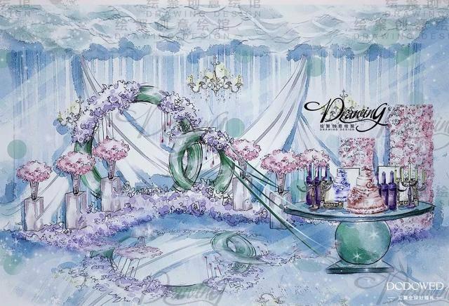 dodowed婚礼手绘推荐之绘聚蓝色系婚礼手绘作品