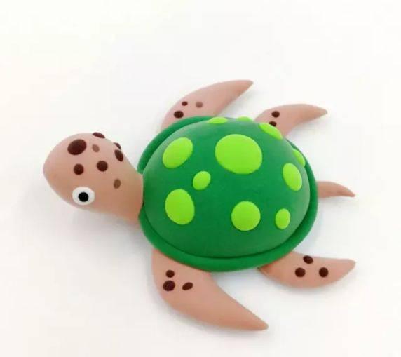 深绿色,肉色,咖啡色,草绿色,黑色,白色 制作步骤图解: 用深绿色粘土