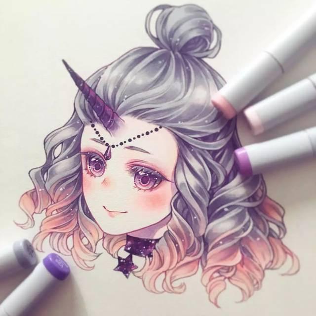 手繪十二星座少女頭像