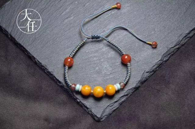 独特编绳挂坠 diy手工编织的挂绳配上蜜蜡,绝对是独一无二最百搭的