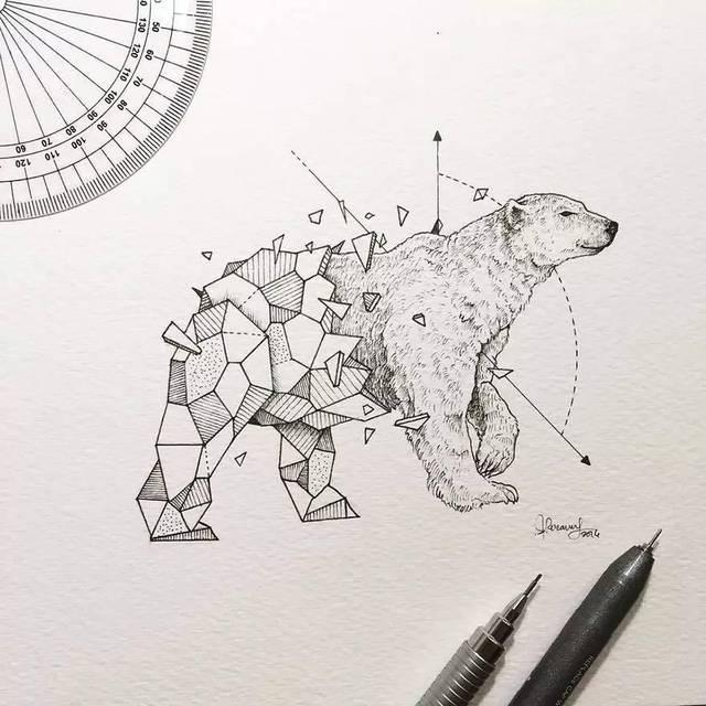几何与动物结合的铅笔画, 有一种特殊之美!