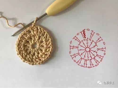 在长针针目里钩1针锁针,按照图解钩织 第7步:第3圈在第2圈锁针对应的