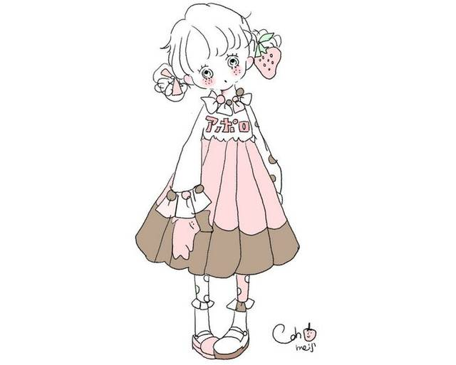 纯真可爱动漫女孩手绘