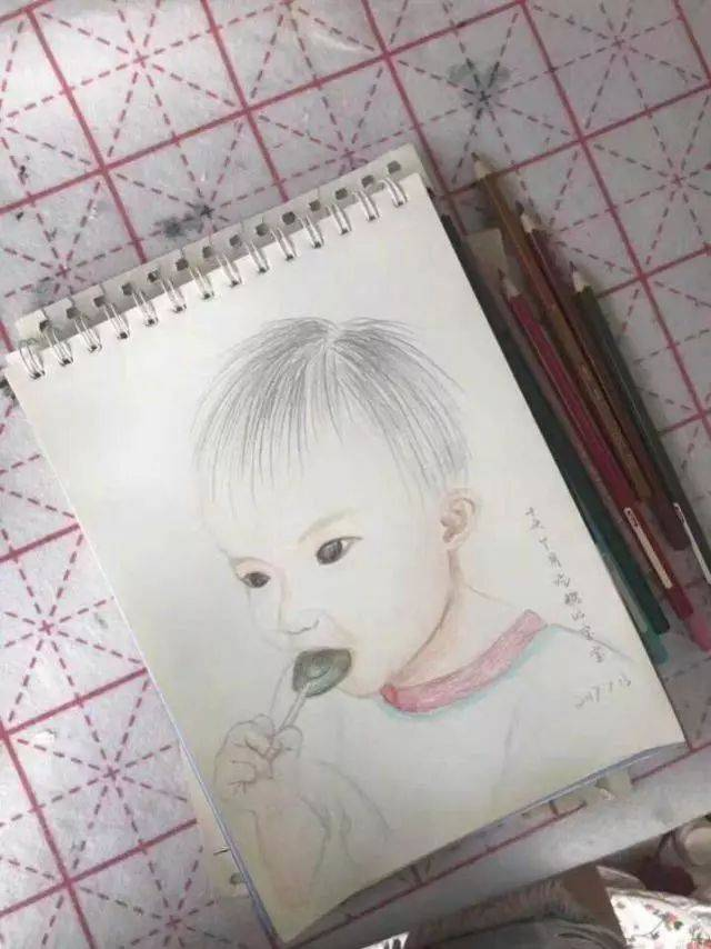 手绘彩铅棒棒糖
