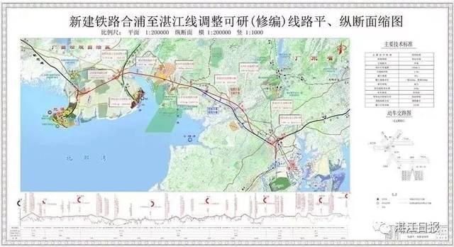 在湛江东接黎湛线,洛湛线,江湛高铁 并经湛江至海安线, 规划中的琼州