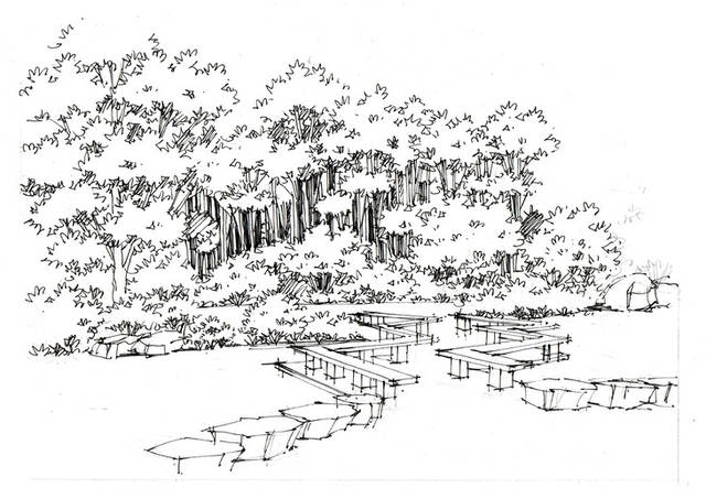 上海人民公园景观手绘临摹图带步骤杭州手绘培训