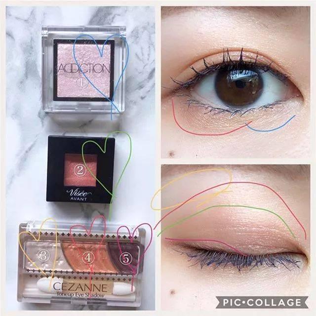 三色眼影的画法步骤�_be1  chifure 口红 549  dior 唇蜜 092 产品信息:  cezanne 三色眼影