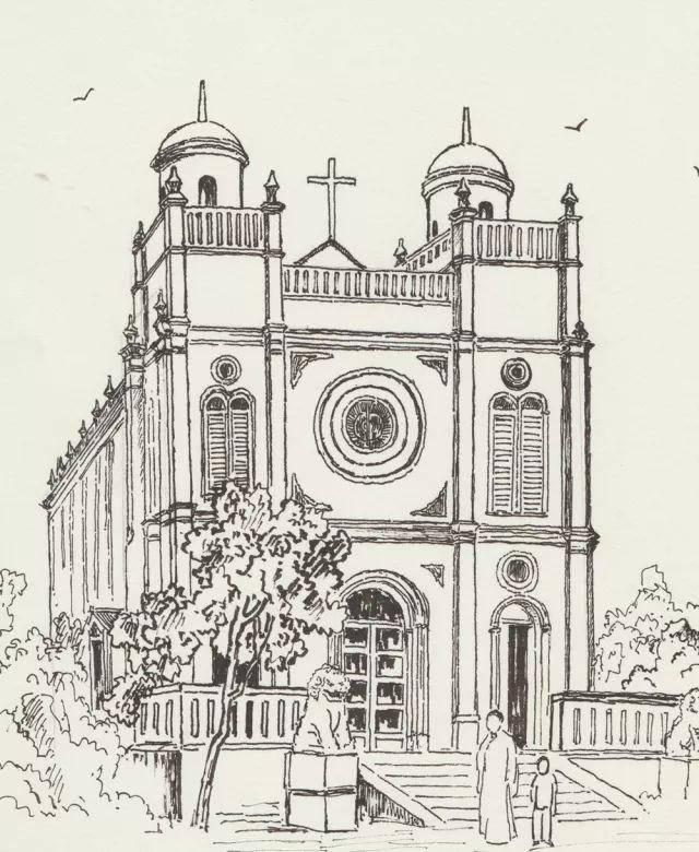 建筑局部景观手绘