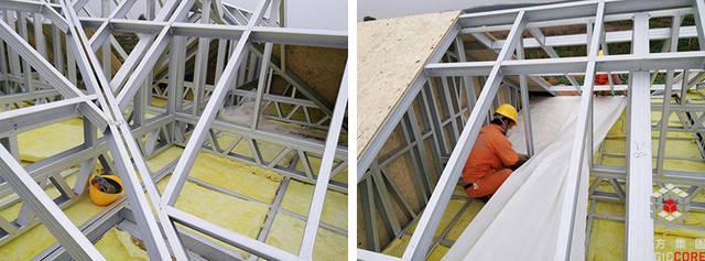 屋面面层结构板用9mmd osb,然后防水用自粘沥青防水卷材,瓦用树脂瓦图片