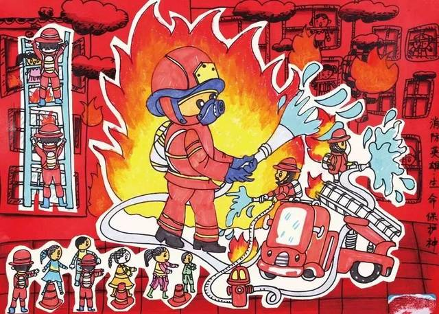 """消防员叔叔就是我们生命的""""保护神"""""""