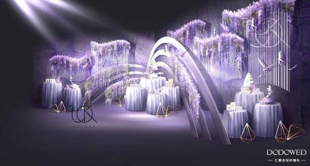 dodowed婚礼手绘推荐之tuko紫色系婚礼手绘作品