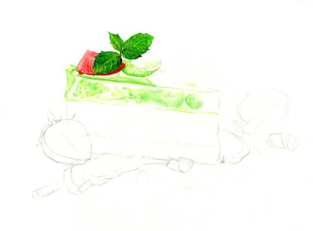 彩铅手绘草莓小蛋糕教程