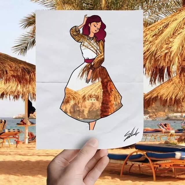 手绘了一系列代表埃及景点或地标的插画,每一幅都是一位妆容得体,穿着