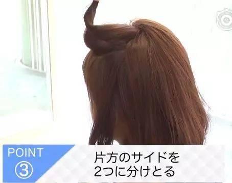 将头顶的头发呈闪电状分开.