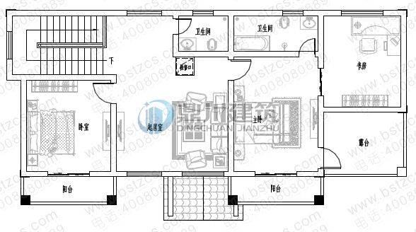 新农村二层自建房 一 层:客厅,2卧室,厨房,餐厅,卫生间,储存间 图纸