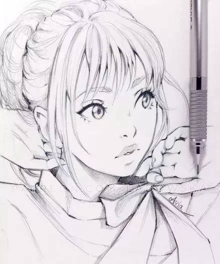 干货| 100张女生绘画线稿素材,二次元动漫,古风美女